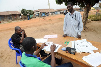 A voter ready to cast ballot