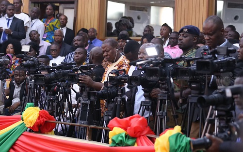 A section of media men in Parliament