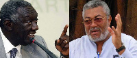 The two former Presidents of Ghana: John Agyekum Kufuor (left) and JJ Rawlings (right)