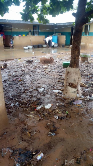 Plastic materials from choked drains forced its way into homes as a result of the flood