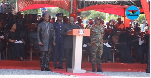 Vice President Mahamudu Bawumia reading a tribute to the late soldier