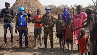 UNMISS peacekeepers from Ghana stationed at a nearby temporary operating base