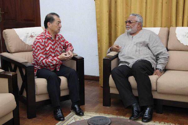 Former President Jerry John Rawlings with Japanese Ambassador to Ghana, Tsutomu Himeno