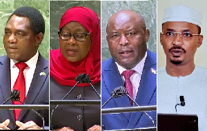 L - R: Presidents Hichelima (Zambia), Suluhu (Tanzania), Ndayishimiye (Burundi), Deby Itno (Chad)