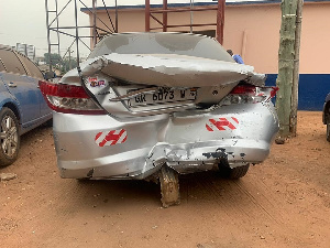 Kobby's dismantled car after the accident