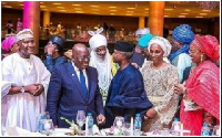 President Akufo-Addo at the wedding reception having a chat with some of the invited guests