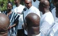 President John Dramani Mahama addressing supporters gathered at his residence