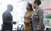 Kojo Oppong Nkrumah (left) interacting with Dr Leticia Appiah (middle), and Ms Abena Acheampong,