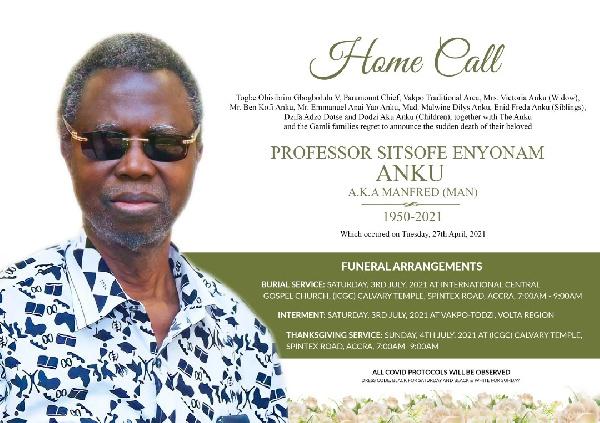 Funeral arrangements for late Professor Sitsofe Enyonam Anku
