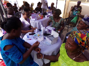 A health screening was organised by the NGO for the aged at Alajo in Accra