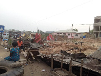 A scene of the demolished structures in Anwiankwanta
