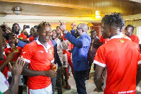 GFA President, Kurt E.S Okraku and Asante Kotoko players in a jama mood