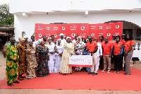 Officials of Vodafone making a presentation to representatives of the five traditional councils
