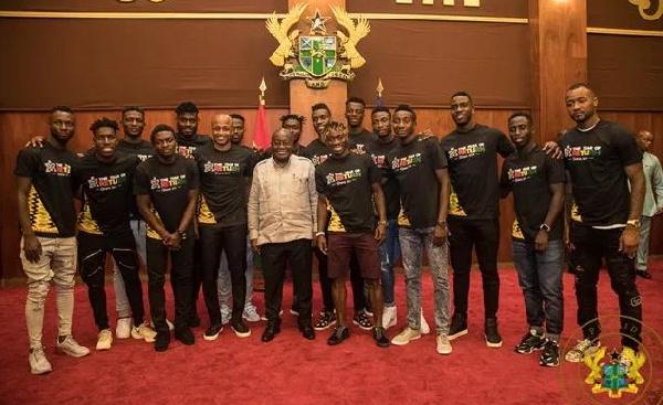 President Nana Addo Dankwa Akufo-Addo with the Black Stars team