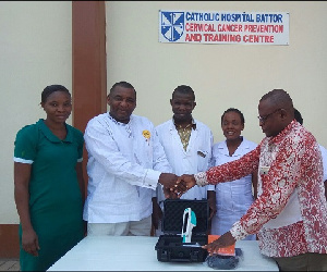 The equipment was received on behalf of the hospital by Dr. Bernard Hayford Atuguba (second left)