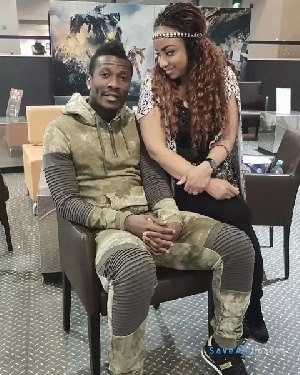 Asamoah Gyan with his wife Gifty
