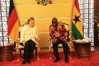 President Akufo-Addo with Angela Merkel, the German Chancellor, at the Jubilee House
