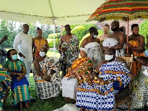 Asantehene Otumfuo Osei Tutu II seated at the durbar