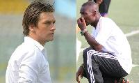 Coach Tom Strand (left) - Signed mid-season to rescue Olympics' campaign & Edward Odoom - Tema Youth