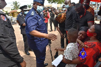The IGP visited the family of the slain officer in the James Town robbery on Tuesday