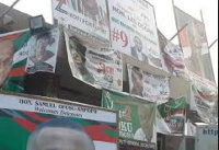 Political party banners.         File photo.