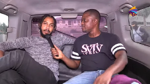 Bombamann (left) in an interview with DJ Nyaami