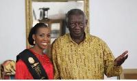 Former President John Agyekum Kufuor (R) , winner of Ghana's Most Beautiful 2016 Yaba  (L)