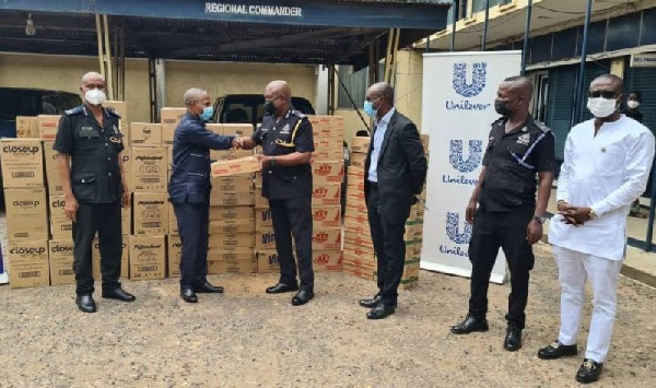 Unilever presents items to Tema, Police Command
