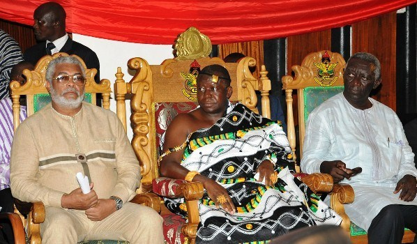 JJ Rawlings, Otumfuo Osei Tutu II and JA Kufuor