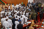 There was chaos in Ghana's Parliament during the election of a Speaker