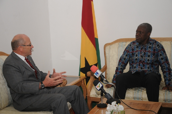 Gerhard Brugger, Switzerland Ambassador with Vice President Amissah Arthur