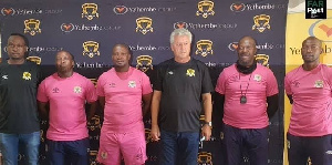 Papic in a group photograph with staff of Leopards