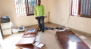 The Klagon office of Chairman of the PNC, Bernard Mornah was broken into and ransacked Sunday