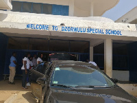 Herty Corgie's team arrive at the Dzorwulu Special School