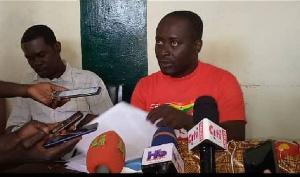 Some NDC executives in the Ajumako-Eyan-Essiam addressing the media