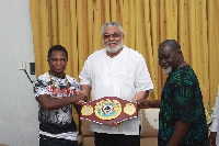 Isaac Dogboe, JJ Rawlings and Azumah Nelson
