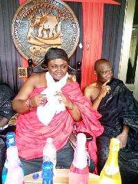 Denkyirabaahemaa Nana Ama Ayensuwa Saara III celebrate after the ruling