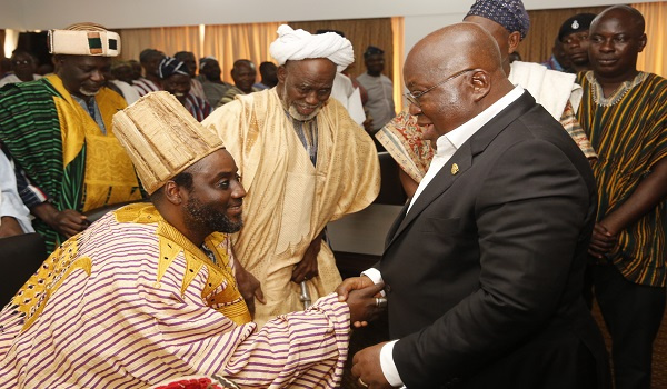 President Akufo-Addo with the Bolin Lana, Mahamudu Abdulai
