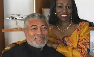 The late former President of Ghana, Jerry John Rawlings and wife, Konadu Agyeman Rawlings