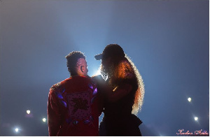 Shatta Wale with Michy during a stage performance
