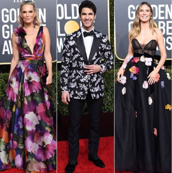 Florals were a popular choice on the red carpet - and not just with the women. Left-right: Molly Sim
