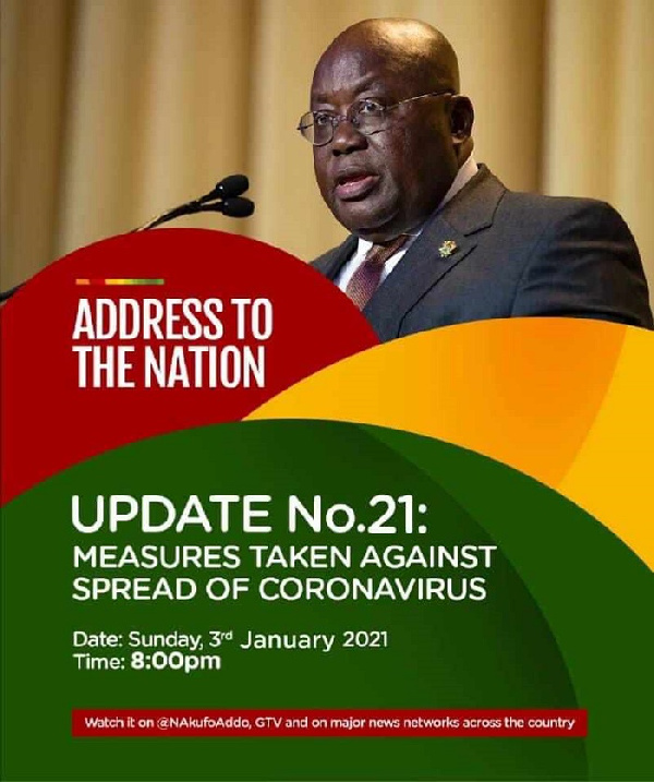 Fellow Ghanaians, President Akufo-Addo to address the nation tonight