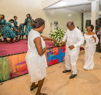 File photo: Mahama dancing at an event