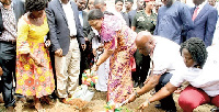 Rebecca Akufo-Addo and Dr Felix Anyah cutting the sod for the commencement of the project