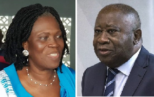 Combination photo of Simone Gbagbo and Laurent