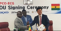 MD of ECG, Mr Robert Dwamena, and Vice-Pres. and Chief Global Business Of KEPCO, Mr Bong–soo Ha