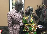 Gabby Otchere-Darko and former CEO of Ghana Tourism Dev't Company Akua Djanie in a friendly hug
