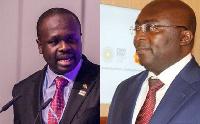 Dr. Edward Omane Boamah (L) chides Dr  Mahamudu Bawumia (R) over 'social intervention' statement