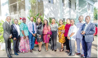 Jean Mensa (5th left) and other Commission members with GJA executives after the visit