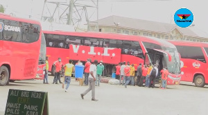 Some of the buses at the VIP station yard in Accra
